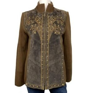 Bob Mackie brown leather embroidery jacket